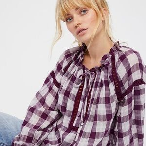 NWT Free People plum honey grove  blouse